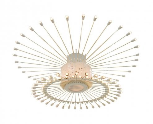 Spectacular Giant Sputnik Ceiling Lamp in Brass, Lucite & Metal, 1950s