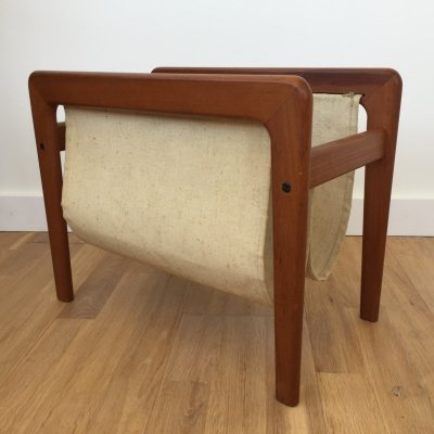 Danish design teak & canvas magazine rack