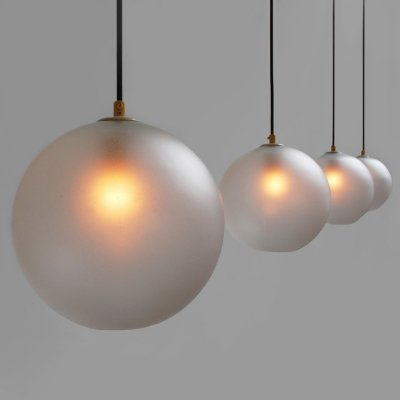 4 pendants with frosted glass bulbs from the sixties