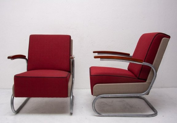 Pair of Cantilever Armchairs S-411, originaly designed by W. H. Gispen 1933
