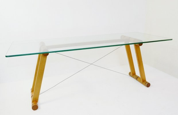 Italian 'Teso' Dining Table by Superstudio in Wood And Glass, 1970s
