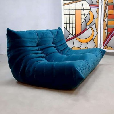 Vintage blue velvet two-seater Togo sofa by Michael Ducaroy for Ligne Roset
