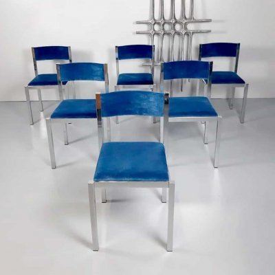 Set of 6 vintage Italian design dining chairs by Cidue