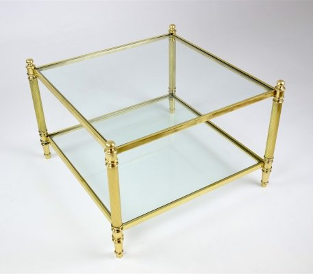 20th Century French Brass Coffee Table, 1970's