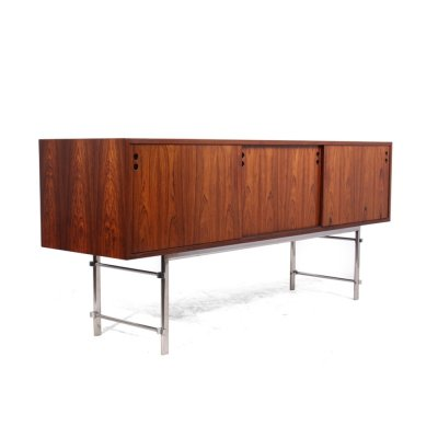 Scandinavian Rosewood Sideboard with Chrome Legs, c1960