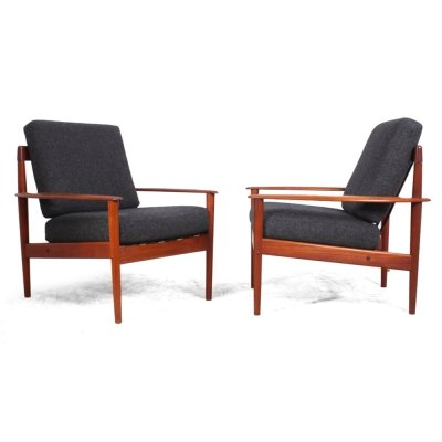 Pair of Teak PJ56 Armchairs by Grete Jalk for P Jeppesen