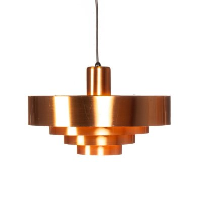 Vintage copper Roulet pendant lamp by Jo Hammerborg for Fog & Mørup, 1963