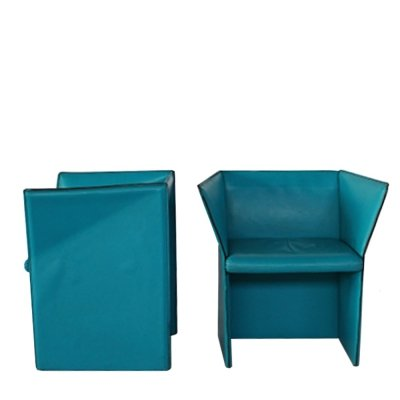 Couple of leather armchairs by Tito Agnoli, Italy 1970's