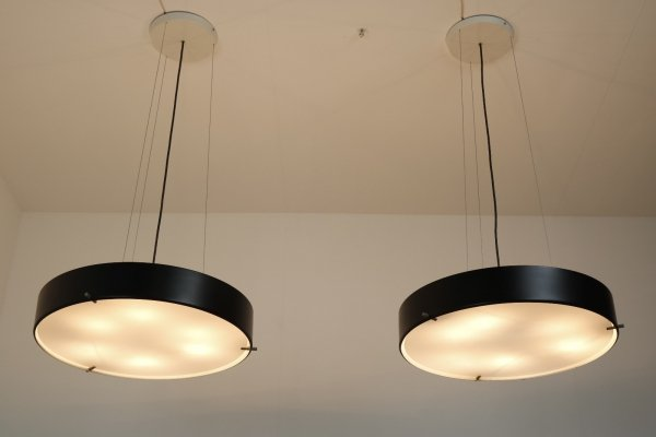 Matching pair of 1090 hanging lamps by Bruno Gatta for Stilnovo, Italy 1954