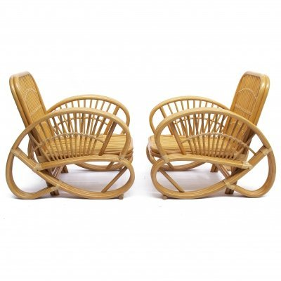 Pair of Art Deco Rattan & Wicker Armchairs , 1970s