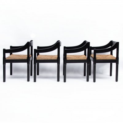 Set of Four Carimate Dining Chairs by Vico Magistretti for Cassina, 1960