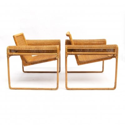 Set of rare Wassily inspired Wicker Chairs, 1970s