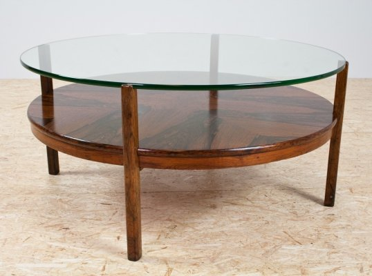 Round coffee table in rosewood & glass, 1960s