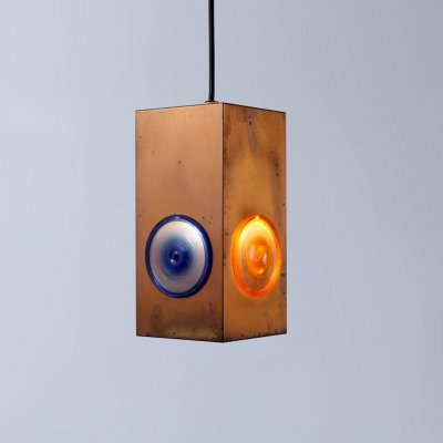 Colorful brass copper brutalist pendant light by Egon Hillebrand, 1950s