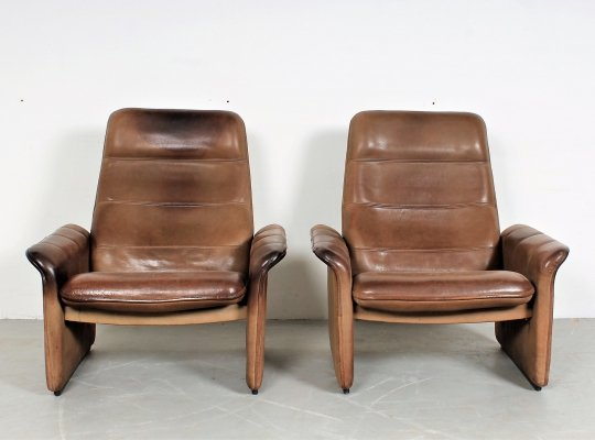 Set of 2 vintage De Sede 'DS50' lounge chairs in neckleather