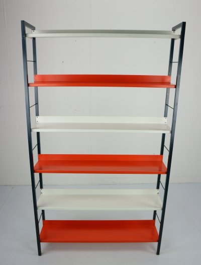 Freestanding Metal Book- Shelving Unit by A. D. Dekker for Tomado, 1950s