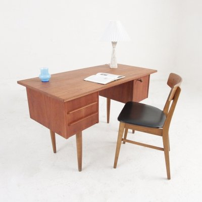 Midcentury desk in teak with drawers & a cabinet