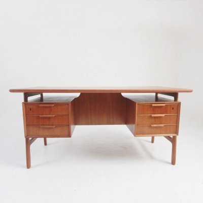 Teak desk model 75 by Omann Jun. Møbelfabrik, Denmark 1960s