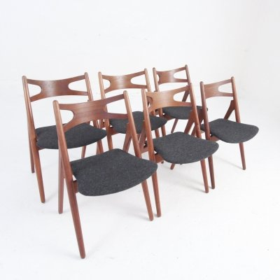 A Set of Six Teak Sawhorse Chairs by Hans J. Wegner for Carl Hansen & Søn