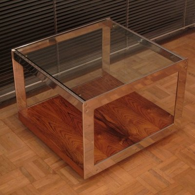 Rosewood, Chrome & Glass Side Table By Richard Young For Merrow Associates