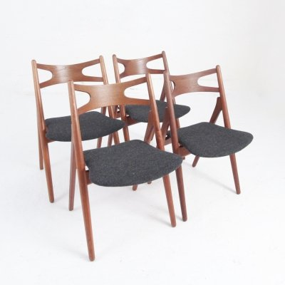 Set of four Teak Sawhorse Chairs by Hans J. Wegner for Carl Hansen & Søn