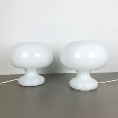 Set of 2 Mushroom opal glass table / desk lights by Cosack Lights, Germany 1960s