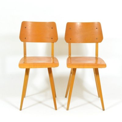 Pair of Vintage Wooden School Chairs, 1970s
