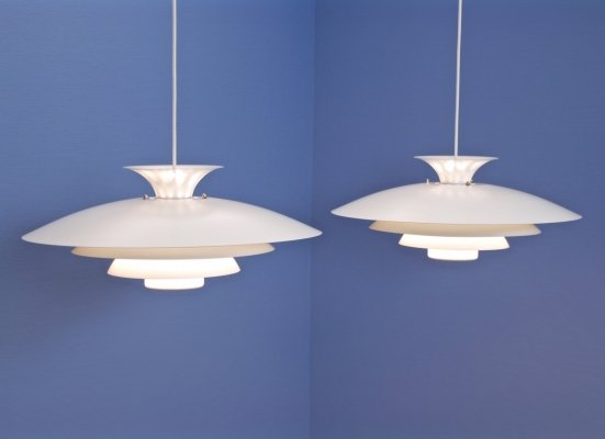 Set of 2 XL Danish pendants in white by Form Light, 1960s