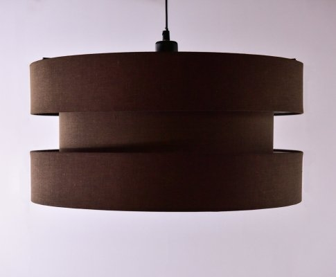 Brown fabric pendant lamp, 1970's