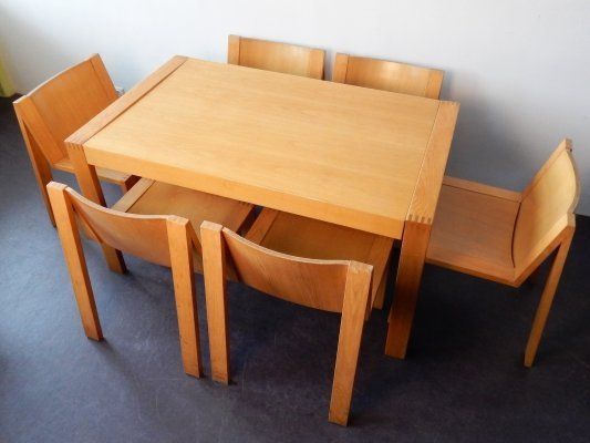 SE15 extentable dining table with 8 chairs by Mazairac & Boonzaaijer for Pastoe