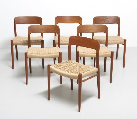 6 papercord dining chairs by Niels Otto Møller