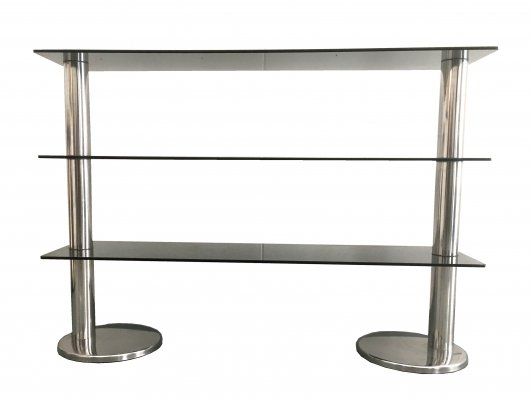 Smoked glass & steel console, 1980s