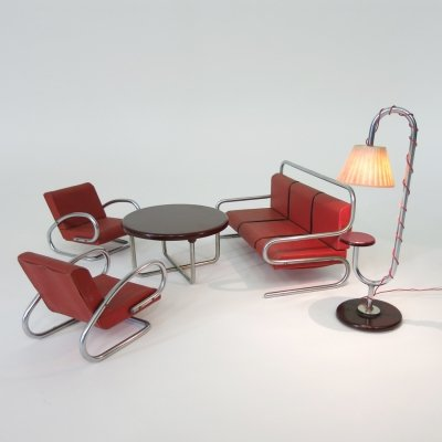 Jindřich Halabala Tubular steel furniture miniature set with functional lamp