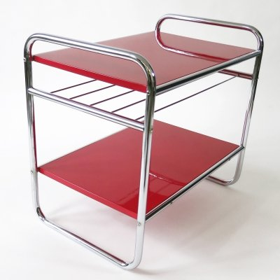 Bauhaus console table with chrome frame, news rack & shelves in cherry red