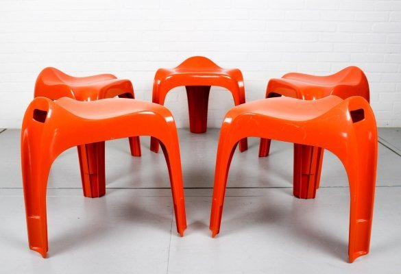 Set of 5 Stackable Stools by Alexander Begge for Casala, 1970s