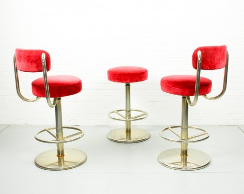 Vintage Velvet Bar Stools with Metal Feet by Börge Johanson for Johanson Design