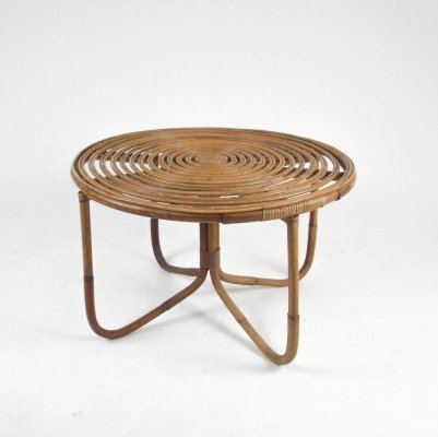 Round coffee table in rattan, Italy 1950s