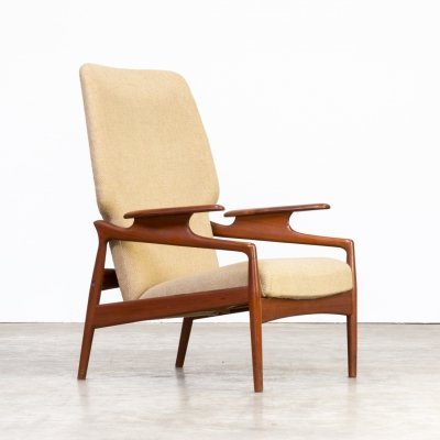 60s John Boné teak & wool adjustable lounge chair for Advance Design