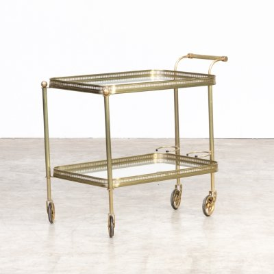 Midcentury brass & glass serving trolley