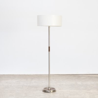 Metal, leather & wooden Swing arm floorlamp, 1980s