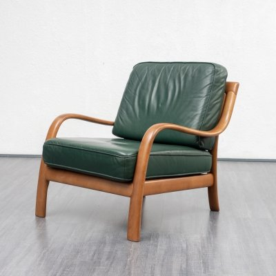 2 x green leather armchair with beech frame, 1960s