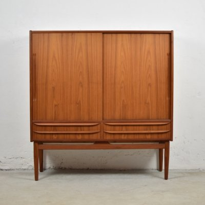 Midcentury modern highboard in teak, Denmark 1950's
