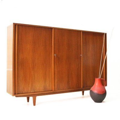 Large Mid-Century Cabinet with Lockable Sliding Doors by WK Möbel