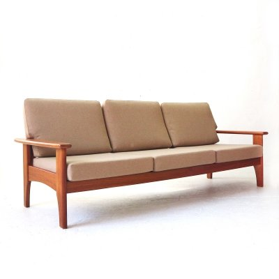 Edgy 1960s Teak Three Seat Sofa