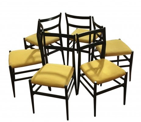 Gio Ponti for Cassina Six Black Wood 'Leggera' Chairs, 1950s