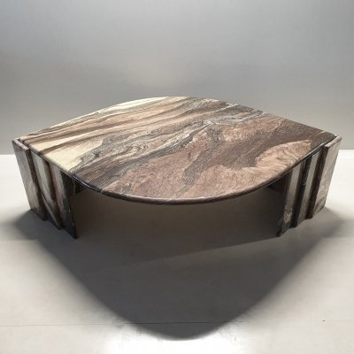 Italian marble eye shaped coffee table