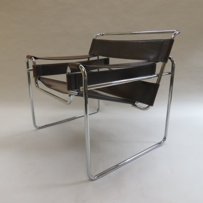 Vintage Wassily B3 leather & chrome chair by Marcel Breuer for Knoll
