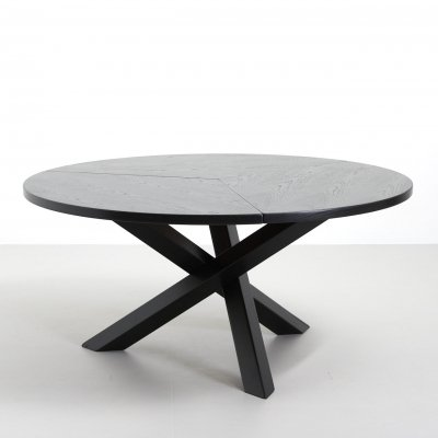 Black lacquered round dining table with crossed legs by Martin Visser, 1960s