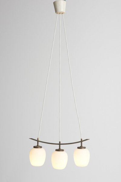 Rare Bent Karlby pendant made of curved brass with three opaline glass shades