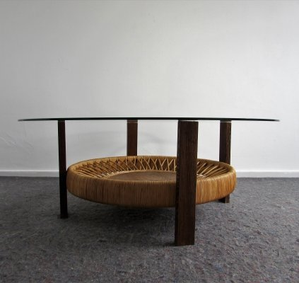 Coffee Table with Rattan Magazine Rack, 1960's